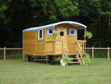 Bluebell shepherd hut accommodation, near Ellesmere, Shropshire.