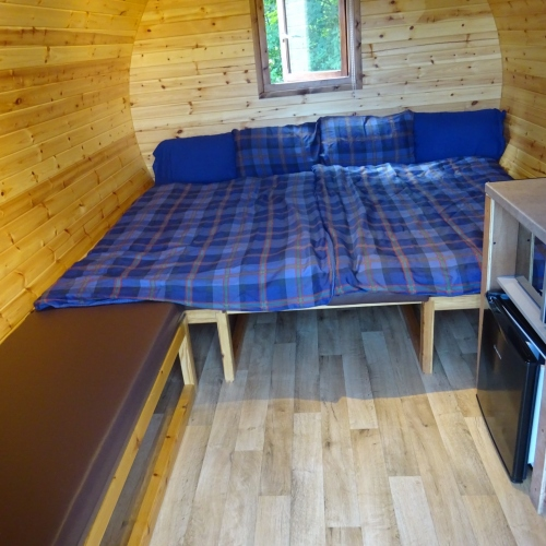 Seating area arranged as 1 large bed (sleeps up to 4). Bedding not supplied.