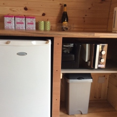 Kitchen Facilities in  Glamping Pod at Castle Farm Holidays near Ellesmere Shropshire