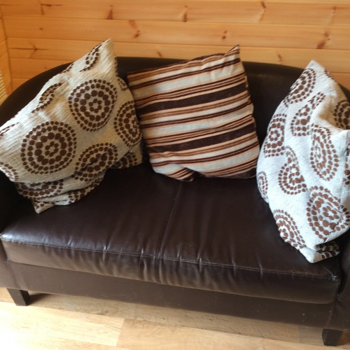 Sofa in Ash Pod at Castle Farm Holidays near Ellesmere Shropshire
